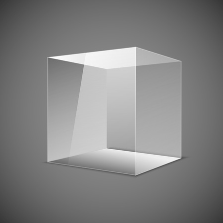 Abstract transparent box on grey background.