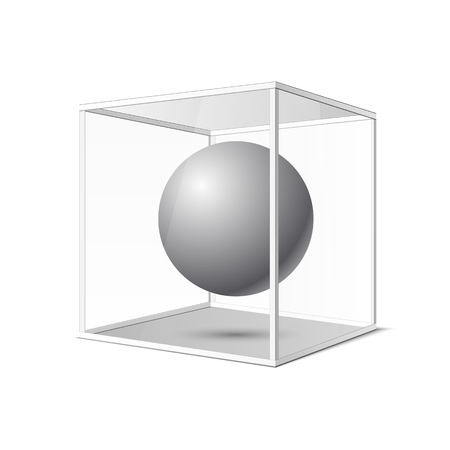 Four transparent gray glass cubes