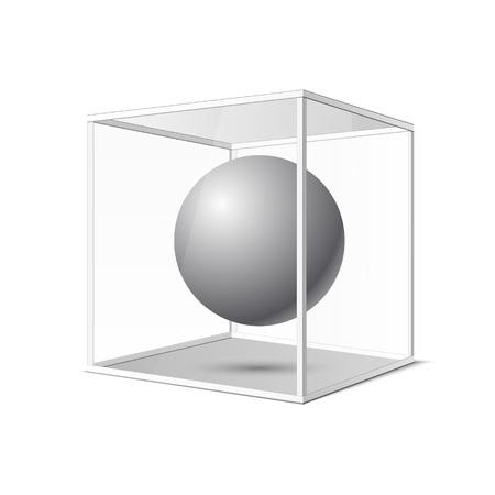 boutique display: Four transparent gray glass cubes