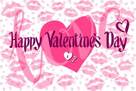 beso labios: Tarjeta romántica del vector con el corazón consisten en impresiones de labios valentín feliz beso