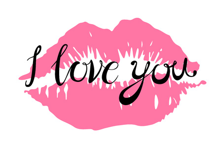 i Love you kiss red lips vector pink art Illustration