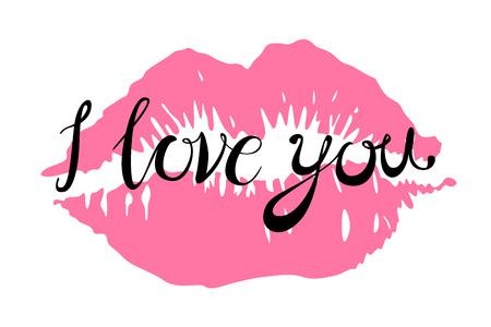 Ti amo baci le labbra rosse vettore rosa d'arte