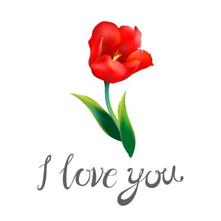 ik hou van jou / aquarel blauwe word met rode harten op een witte achtergrond / boeket van rode en gele bloemen / wenskaart voor Valentijnsdag / aquarel / vector illustratie kunst