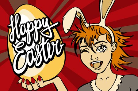 bunny girl: closeup of winking bunny girl face happy easter lettering vector manga art Illustration