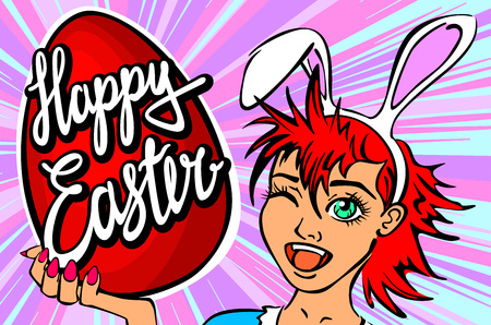 portrait young girl studio: closeup of winking bunny girl face manga girl in a bunny costume with an Easter egg. happy easter lettering art