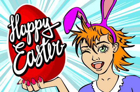closeup of winking bunny girl face manga girl in a bunny costume with an Easter egg. happy easter lettering art