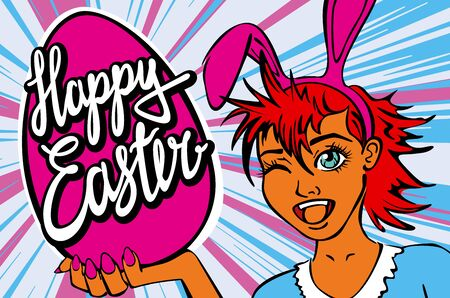 manga girl: closeup of winking bunny girl face manga girl in a bunny costume with an Easter egg. happy easter lettering art