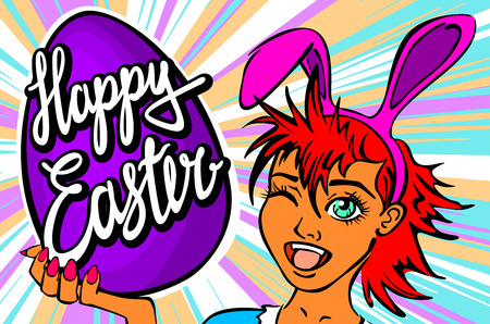 manga girl: winking and thumbs up sexy pin up style bunny girl. closeup of winking bunny girl face manga girl in a bunny costume with an Easter egg. happy easter lettering art