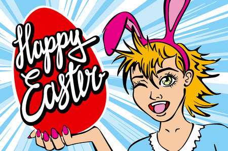 manga: closeup of winking bunny girl face manga girl in a bunny costume with an Easter egg. happy easter lettering art