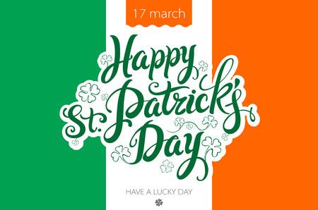 Saint Patricks Day Background with flag of Ireland and leprechaun hat