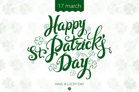 irish beer label: happy patrick day vintage lettering background art
