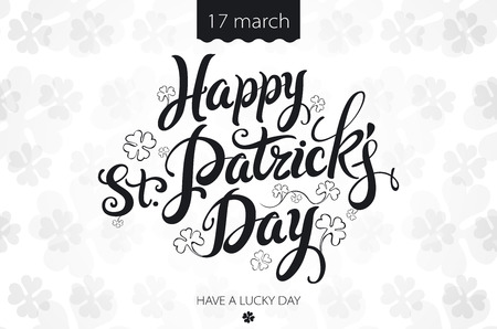 patrick: happy patrick day vintage lettering background art