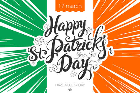 leafed: Saint Patricks Day Background with flag of Ireland and leprechaun hat