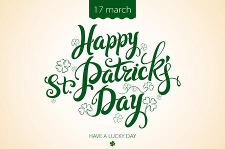 patrick day: happy patrick day vintage lettering background art