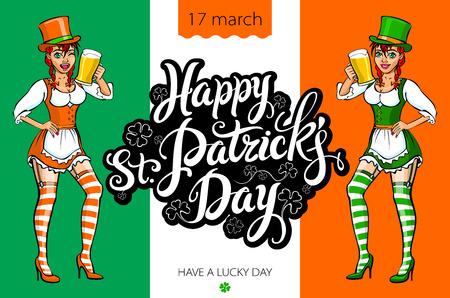 irish woman: Cute girl serving Saint Patricks Day beer - vector banner art Illustration