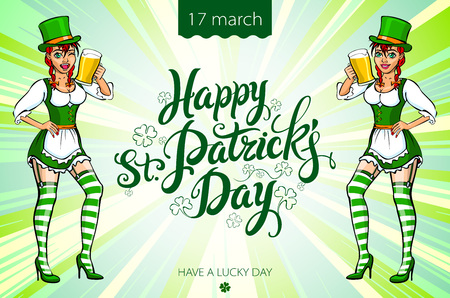 irish woman: A girl in a green hat and a green dress holding a tray with a mug of ale. Congratulations to the St. Patricks Day art Illustration