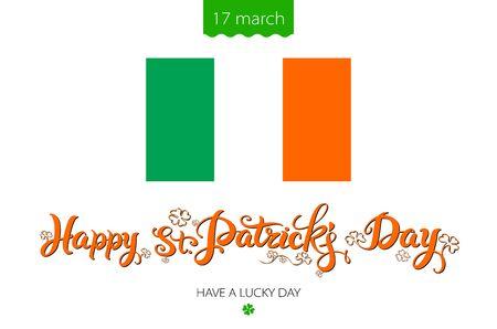 leafed: Saint Patricks Day Background with flag of Ireland  vintage lettering art Illustration