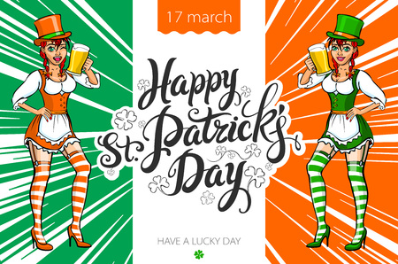 clover face: Cute girl serving Saint Patricks Day beer - vector banner art Illustration