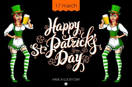 irish beer: Funny irish girl holding a beer. Happy St. Patrick?s day. art