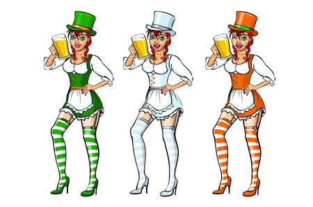 Ilustración del día de San Patricio Chica irlandesa que sirve arte de la cerveza