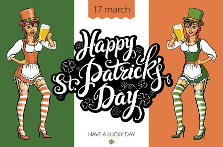 female leprechaun: Cute girl serving Saint Patricks Day beer - vector banner art Illustration