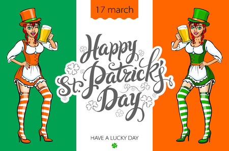 clover face: Cute girl serving Saint Patricks Day beer - vector banner art Illustration