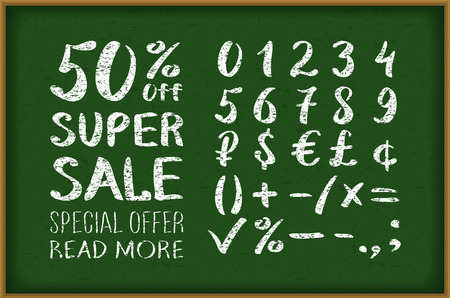 chalk drawing: sale 50 percent drawing on blackboard. Numbers 0-9 written with a brush on a black background lettering. Super Sale. Big sale. Sale tag. Sale poster. Sale vector. Super Sale and special offer. 50% off. Vector illustration. art Illustration