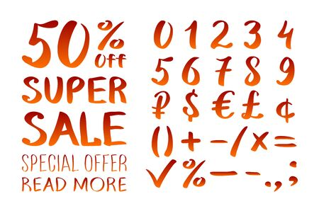 0 9: Numbers 0-9 written with a brush on a white background lettering. Super Sale. Big sale. Sale tag. Sale poster. Sale vector. Super Sale and special offer. 50% off. Vector illustration. art