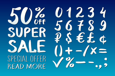 0 9: Numbers 0-9 written with a brush on a blue background lettering. Super Sale. Big sale. Sale tag. Sale poster. Sale vector. Super Sale and special offer. 50% off. Vector illustration. art