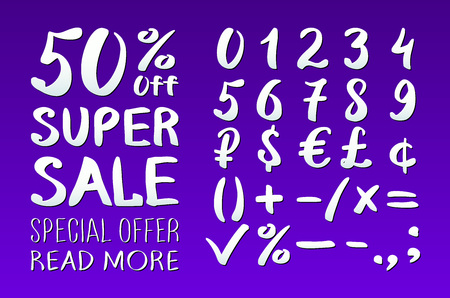 0 9: Numbers 0-9 written with a brush on a violet background lettering. Super Sale. Big sale. Sale tag. Sale poster. Sale vector. Super Sale and special offer. 50% off. Vector illustration. art Illustration
