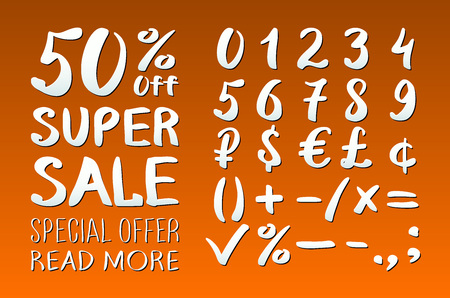 0 9: Numbers 0-9 written with a brush on a orange background lettering. Super Sale. Big sale. Sale tag. Sale poster. Sale vector. Super Sale and special offer. 50% off. Vector illustration. art