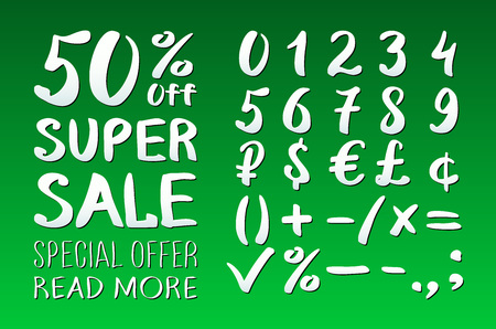 0 9: Numbers 0-9 written with a brush on a green background lettering. Super Sale. Big sale. Sale tag. Sale poster. Sale vector. Super Sale and special offer. 50% off. Vector illustration. art