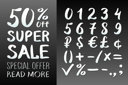 0 9: Numbers 0-9 written with a brush on a black background lettering. Super Sale. Big sale. Sale tag. Sale poster. Sale vector. Super Sale and special offer. 50% off. Vector illustration. art