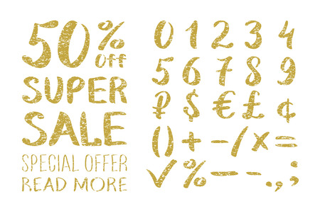 Gold glittering alphabet - numbers (figures), currency signs. Super Sale. Big sale. Sale tag. Sale poster. Sale vector. Super Sale and special offer. 50% off. Vector illustration. art Vettoriali