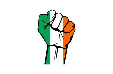 irish pride: Fist of Ireland flag painted, multi purpose concept - isolated on white background art