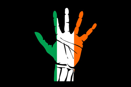 stretched: Hand with five fingers stretched upward, colors of the Irish flag art