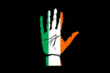 voting rights: Hand with five fingers stretched upward, colors of the Irish flag art