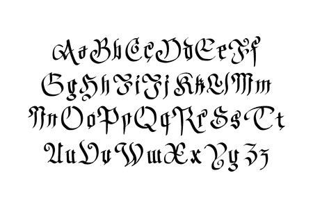old english letters: Modern Gothic Style Font. Gothic letters with decorative elements art