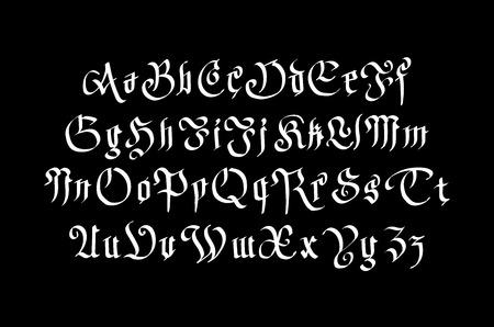 alphabetical order: Fantasy Gothic Font. Retro vintage alphabet. Custom type letters on dark background. Stock vector typography art