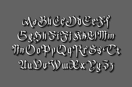 typeface: vintage gothic old style typeface on dark background  art