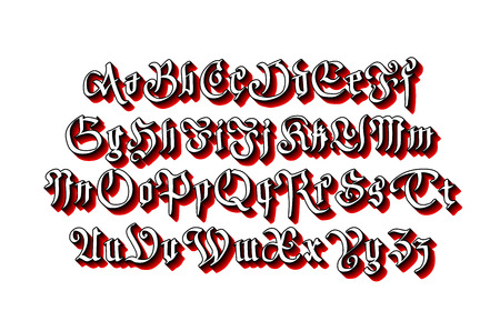 old english letter alphabet: Blackletter gothic script hand-drawn font art vector