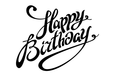 Happy Birthday lettering calligraphy vector card art