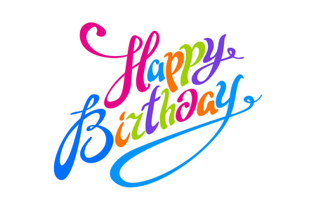 Happy Birthday color lettering calligraphy vector card art text