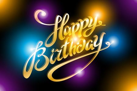light illustration of Happy Birthday Typography background art Stock Vector - 53279379