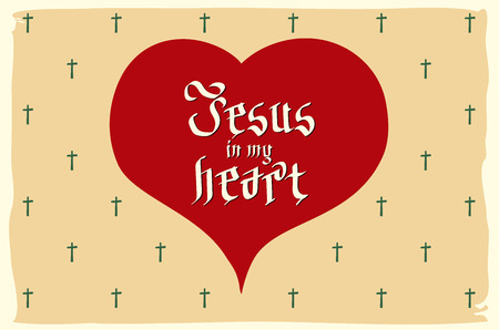 gothic heart: gothic Bible lettering. Christian art. Jesus in my heart. vector vintage card heart retro art