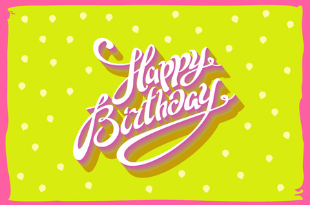 happy birthday cartoon: Vintage retro happy birthday card, with fonts, grunge frame and chevrons seamless background. art vector