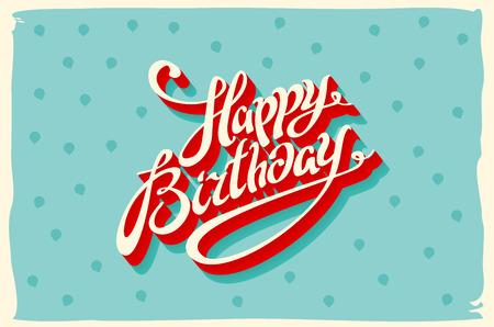 Retro glückliche Geburtstagskarte, mit Schriften, Grunge-Rahmen und Chevrons nahtlose Hintergrund. Vektor-Kunst