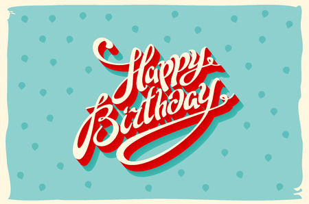 Tarjeta de la vendimia retro feliz cumpleaños, con fuentes, grunge marco y galones de fondo sin fisuras. ilustración de arte