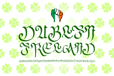 ireland cities: Retro Typography, Vintage Travel Greeting label on blurry background Greetings from Dublin, Ireland, Vector design. art
