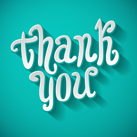 thank you card: thank you, handwritten text with shadow on striped cardboard art